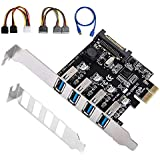 SHINESTAR PCIe to USB 3.0 Adapter, 4 Port USB 3.0 to PCI Express Expansion Card with 8 cm Low Profile Bracket for 2U Case, Support Windows XP/7/8/10