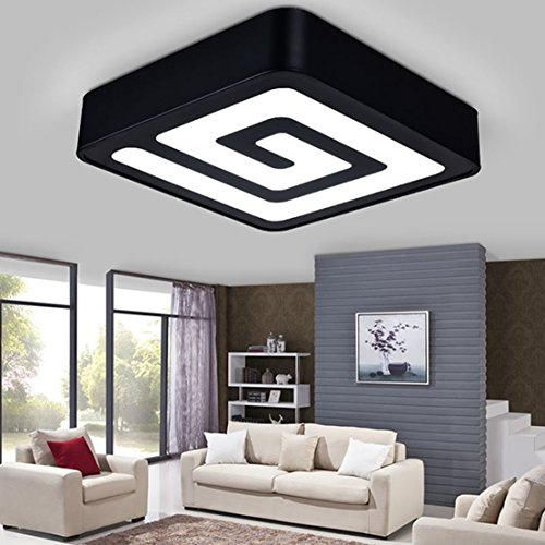 Modern LED Square Ceiling Light Fixture Home Style Dimmable Flush Mount Ceiling Lamp Maze Remote Control Pendant Light Fixtures for Living Room Bedroom 15.75 inches 3000K-6400K 2400 Lumens (Black) - Flush Mount Drop Plate
