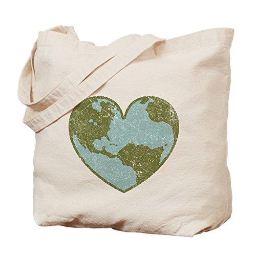 CafePress - Earth Love - Natural Canvas Tote Bag, Cloth Shopping Bag