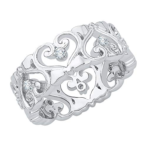 KATARINA Diamond Filigree Heart Ring in 14k White Gold (1/6 cttw, I-J, I1-I2) (Size-8)