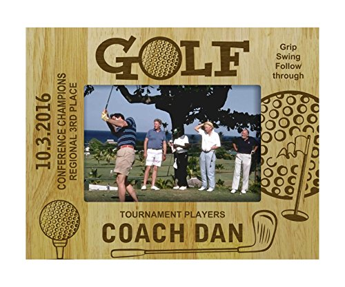 Engraved Wood Personalized Golf Golfer Theme Picture Frame With Names Gift-5 x 7 Inches Horizontal - Customizable Gift ()