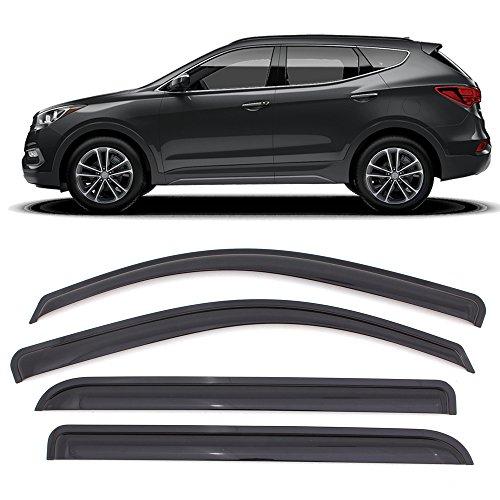 Window Visor Fits 2013-2018 Hyundai Santa Fe | Acrylic Smoke Tinted 4PCS Sun Rain Shade Guard Wind Vent Air Deflector by IKON MOTORSPORTS | 2014 2015 2016 - Vent Fe Santa