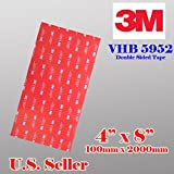 """3m VHB 4"""" X8"""" Double Sided Foam Adhesive Sheet Tape 5952 Automotive Mounting Industrial Grade Very High Bond 5952"""