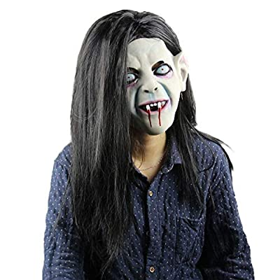 Halloween Ghost Mask Horror Grimace Latex Mask Scary Zombie Emulsion Skin with Hair for Halloween Costume Party Cosplay (Black): Clothing
