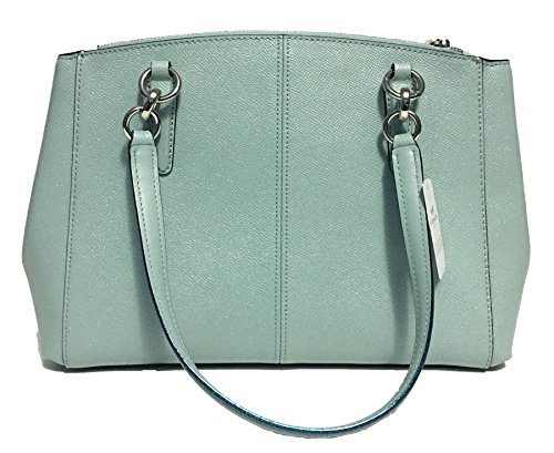 Blue Crossgrain Leather Aqua in Christie Carryall Coach txvqIY6I
