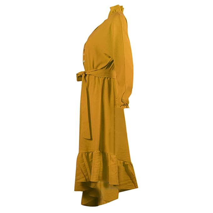 Falda De Flamenco para Mujer Botón De Moda Vendaje Color Sólido Manga De Linterna Cuello Profundo Vestido Irregular Vestido De Baile De 4 Colores (Amarillo, ...