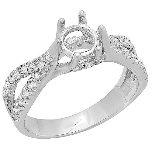 Diamond Ring Mounting - 0.40 Carat (Ctw) 14k White Gold Round Diamond Ladies Engagement Semi Mount Ring (No Center Stone) (Size 7)
