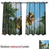 Fantasy Home Patio Outdoor Curtain Giant Dinosaur in Forest Jurassic Monster Fossil Creature Digital Design W108 x L72(274cm x 183cm) -  Anshesix