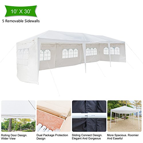 VINGLI 10' x 30' Heavy Duty Canopy Tent Outdoor Party Wedding Tent,with 5 Removable Sidewalls,Upgraded Steady Unique Frame Design,Sunshade Shelter Anti UV Protection Carport Event Gazebo Pavilion - Frame Wedding Canopy
