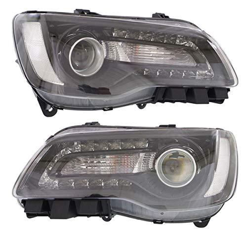 (Partomotive For 15-17 300 Front Headlight Headlamp Halogen Head Light Lamp Black Trim Set)