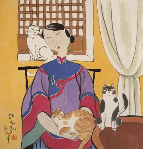 [Perfect Effect Canvas ,the Best Price Art Decorative Prints On Canvas Of Oil Painting 'Hu Yongkai,Cat Accompany With The Woman,21th Century', 30x31 Inch / 76x79 Cm Is Best For Powder Room Decor And Home Decoration And Gifts] (Human Spider Costume Code)