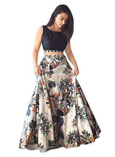 Shopaholic Women's Banglori Silk Lehenga Choli Free Size White (Lehenga Choli)