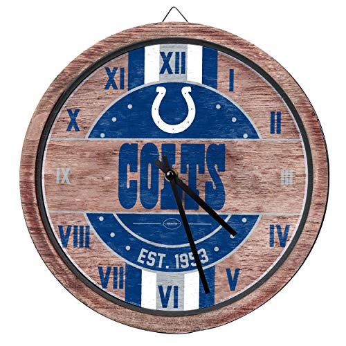 FOCO NFL Indianapolis Colts Team Logo Wood Barrel Wall ClockTeam Logo Wood Barrel Wall Clock, Team Color, One Size