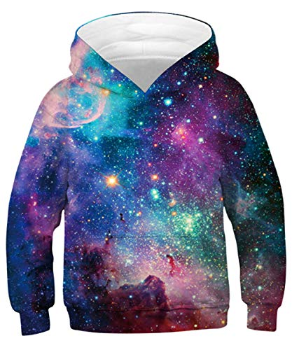 Puppy Kids Sweatshirt - ENLACHIC Unisex Kids Hoodies Sweatshirt 3D Galaxy Print Pullover Clothes with Pocket 4-13 Years,Nebula Star,8-10 Years