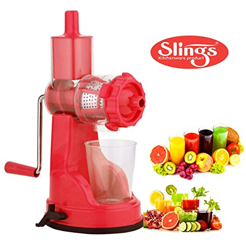 Slings Fruit And Vegetable Steel Handle Juicer with Vaccum Locking System, Pink