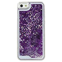 Mingus® Glitter Stars Quicksand Case Cover for Apple iPhone 5 / 5S, Flowing Sparkles Shinny Glitter Bling Stars Powder Anti Scratch Transparent Clear Protective Hard Case Cover Shell for Apple iPhone 5 / 5S - (Purple)