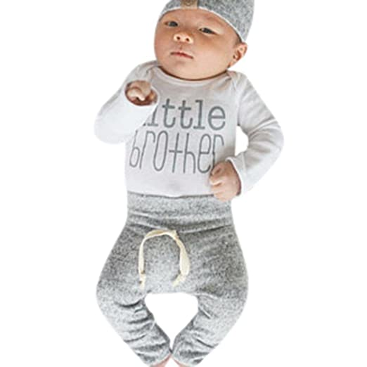 5076cbdef Baby Boy Outfits, Cute 'Little Brother' Long Sleeve Romper Bodysuit + Pants  +