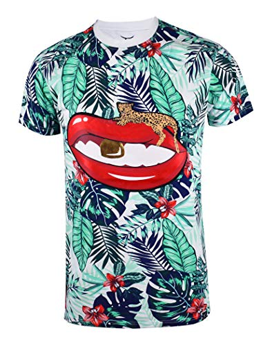 SCREENSHOTBRAND-S11912 Mens Hip-Hop Ultra Premium Tee Longline Street Art Jungle Print T-Shirt-White-Large (5ive Jungle Shirts)