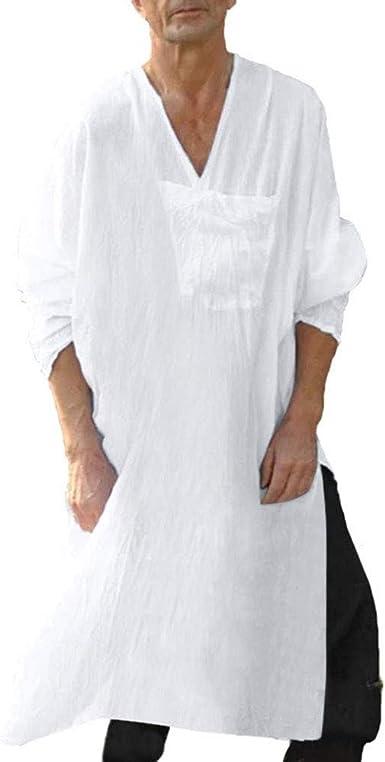 Vestidos árabes Musulmanes de Lino Kaftan para Hombres Oriente Medio Arabia Saudita Árabe Vestidos Largos de Thobe: Amazon.es: Ropa y accesorios