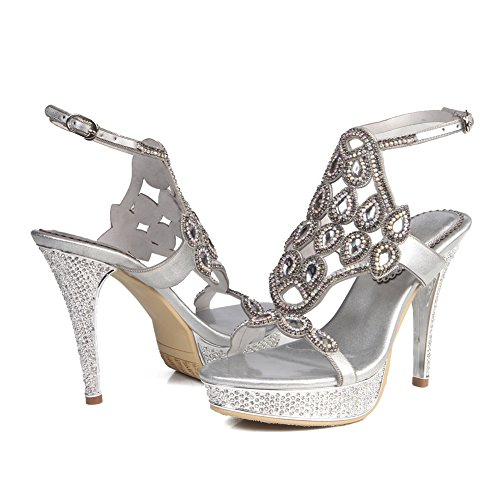 ZPL Womens Ladies Mid Low High Heel Strappy Diamante Party Wedding Prom Sandals Shoes Size Silver R5dIVkCMcS