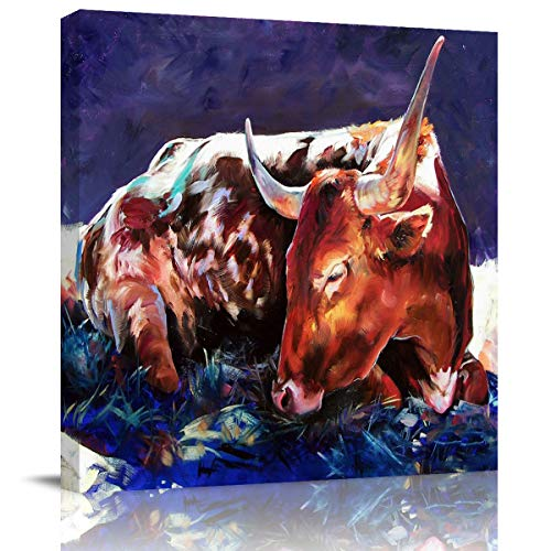 WallArtCanvasPrintsHomeDecor Poster Rustic Colorful Cow Farmhouse Oil Painting Pictures Artwork for Living Room Bedroom Hall Hotel Red Cattle Dairy Animal -