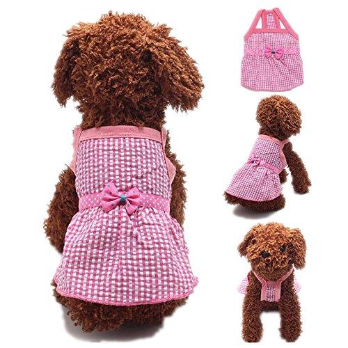 FuzzyGreen Lovely Dog Dress, XLarge Cute Pink Plaid Polka Dot Bowknot Ribbon Braces Best Skirt Sundress for Pet Puppy