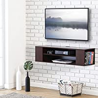 Fitueyes DS210001WB-G Wall Mounted Media Console Shelf, Walnut