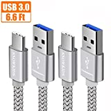 Image of USB Type C Cable, Snowkids USB C Cable (USB 3.0)(2-PACK 6.6ft) Nylon Braided Fast Charger for Samsung Galaxy Note 8, LG V30 G6 G5 V20,Nintendo Switch,Samsung Galaxy S8 Plus,Pixel 2,Macbook (Sliver)