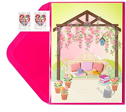 Papyrus Equisite Garden Gazebo Mother's Day Card with Forever Heart Stamps Bundle