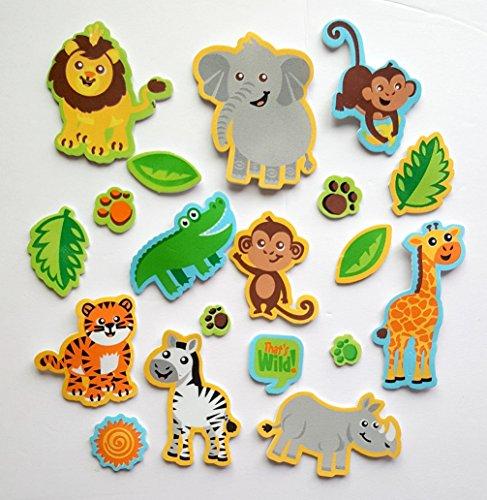 84 Piece Wild Safari Foam Stickers- Lions, Elephants, Monkeys, Zebras, and - Craft Zoo Animal Foam
