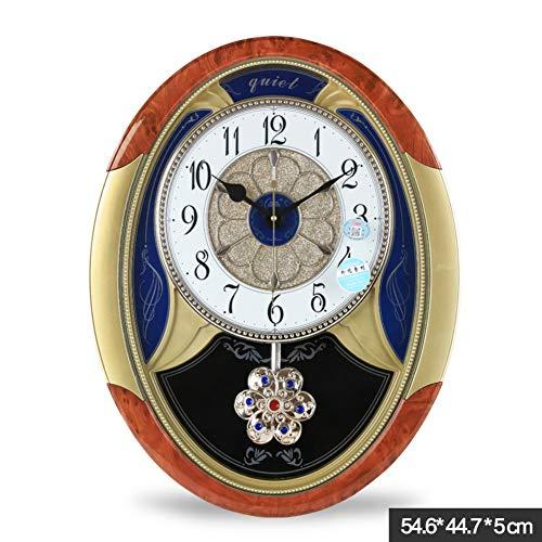 Decorative Pendulum Wall Clock, Large Oval Frame Silent Pendulum Clock Retro No Ticking Sound Hanging Clock Living Room-Cooper 55x45x5cm(22x18x2inch)