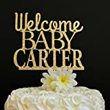 Welcome Baby Cake Topper Personalized Baby Shower Cake Topper New Baby Baby Shower Glitter Cake Decoration Baby Sprinkle Party Favors Birthday Gift for Birthday Party Decorations Toppers