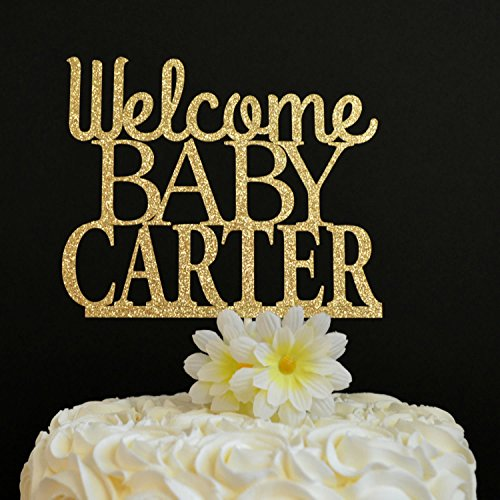 Welcome Baby Cake Topper Personalized Baby Shower Cake Topper New Baby Baby Shower Glitter Cake Decoration Baby Sprinkle Party Favors Birthday Gift for Birthday Party Decorations Toppers by Dikoum