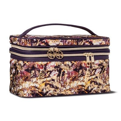Sonia Kashuk153; Cosmetic Bag Double Zip Train Case Distress Floral with Foil MULTI-COLORED