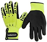 Ledamon Anti-Vibration Impact Resistant Cut Resistant Wear Resistant Mechanic Work Gloves Professional-Grade Protection & Durability (X-Large)