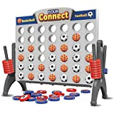Gamie Sporty 4 in a Row Game for Kids | Basketball and Soccer Pieces | Classic Board Game for Children | Line Up Four Game | Educational Learning Toy | Great for Boys and Girls