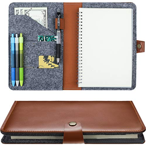 (Notepad Cover for Rocketbook Fake Leather Notebook Cover Refillable Journal Notebook Cover with Pen Holder and Pockets for 6 x 8.8 Inch Rocketbook (Brown))