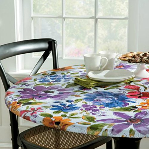 Palos Designs White Floral Vinyl Table Cover (Assorted Sizes) (Small Round: Fits 36''-44'' Dia. Table) by Palos Designs