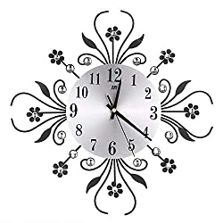KOBWA 14 Luxury Crystal Flower/Leaf Metal Wall Clock Digital Needle Clocks for Living Room Home Office Space Decoration