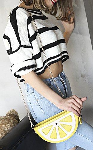 Yellow Bag Shoulder Women's Cute amp; Handbag Fruit Style Transparent Medium Purse PU gvPqa
