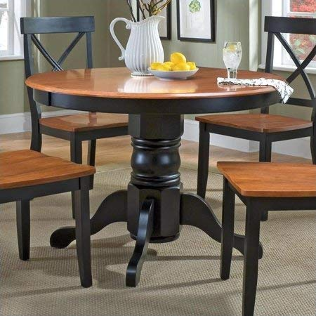 Cottage Oak Finish Seat - Transitional Style Round Casual Dining Table in Deep Black and Rich Cottage Oak Finish, Sturdy and Durable Wood Top, Beautiful and Sophisticated Pedestal Base, Large Enough for Friends and Family