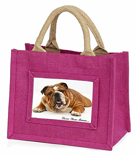 Advanta–Mini Pink Jute Tasche Bulldog Love You Mum Little Mädchen klein Einkaufstasche Weihnachten Geschenk, Jute, pink, 25,5x 21x 2cm