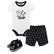 Hudson Baby Baby Cotton Bodysuit, Shorts and Shoe 3 Piece Set, Pirate, 6-9 Months