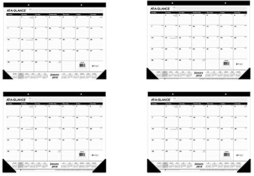"AT-A-GLANCE 2018 Desk Pad Calendar Bundle, Monthly, Ruled, 21-3/4 x 17"" (SK24-00) (4-Pack Bundle) - Bundle Includes Plexon Ballpoint Pen"
