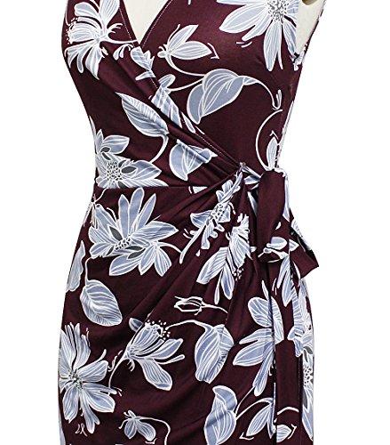 Casual Neck Berydress plum Faux Party V Dress Women's 6028 Black Floral Work Sheath Wrap Vintage txRRXwf