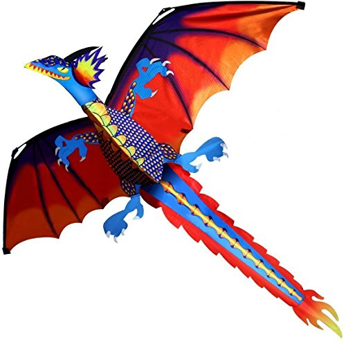 Transer 3D Dragon Kite  Easy Flyer Toys For Kids Outdoor Flying Games And Activities  Multicolor