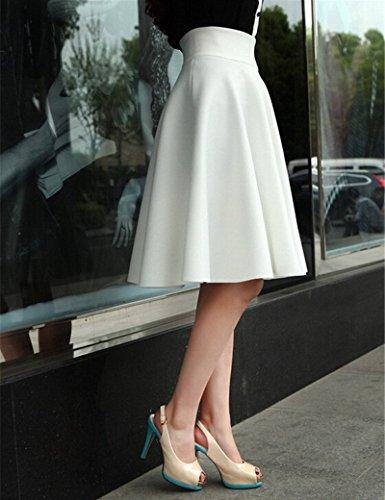 de Unie rid Haute de Couleur plisse Taille Jupe Pas Blanc Mode Jupe de Jupes Long Longue de Femmes Jupe Midi Jupe Mode Partie en Maxi lgant aqBSWxF