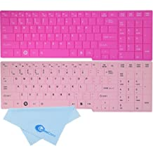 LeenCore® 2-Pack Cute Sweet Cool Ultra thin Colorful Series Silicone Laptop Keyboard Skin Cover Protector for Toshiba Satellite C655 C655D C675 L655 L655D L650 L650D L670 L670D L750 L750D L755 L755D A660 A660D A665 A665D P750 P750D P755D P755 P770 P775 US Layout + 1x Microfiber Cleaning Cloth from LeenCore (Hot Pink+Baby Pink)
