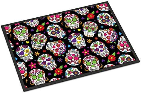 Caroline s Treasures BB5116JMAT Day of The Dead Black Indoor or Outdoor Mat 24×36, 24H X 36W, Multicolor