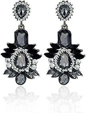 MKmd-s Pendientes de Piedras Preciosas de aleación de Diamantes exquisitos, Temperamento Pendientes Elegantes y versátiles, Negro Femenino